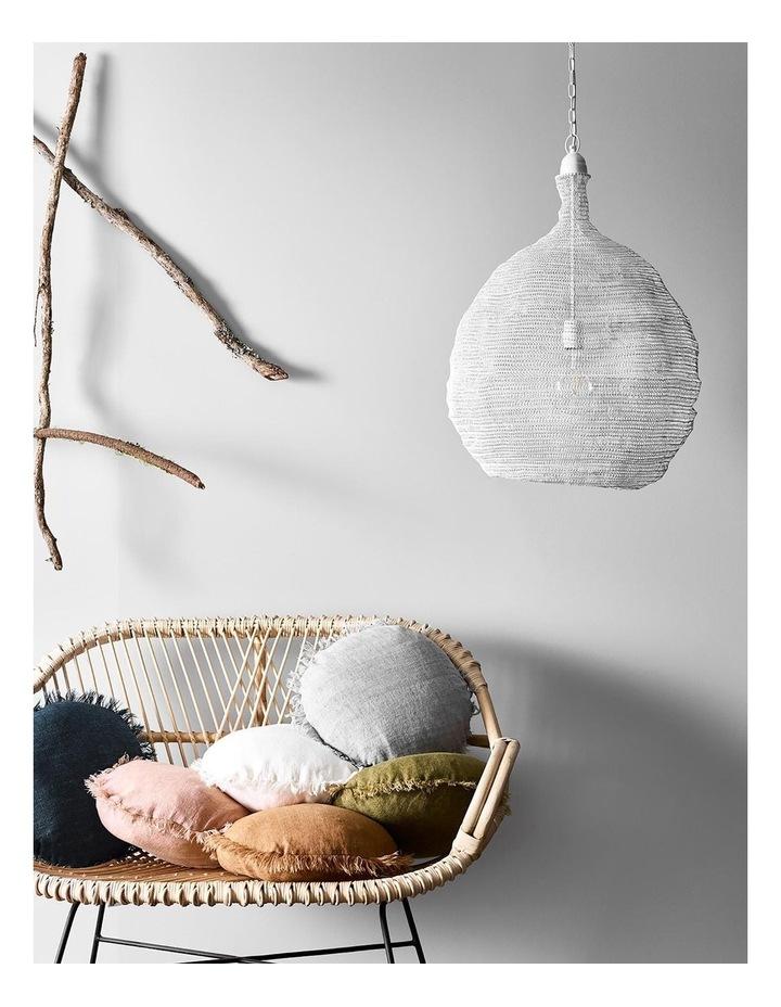 Vintage Linen Fringe Round Cushion in Smoke image 2