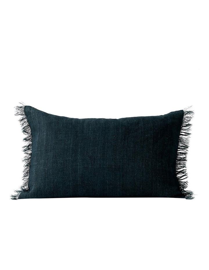Vintage Linen Fringe Rectangle Cushion in Slate image 1