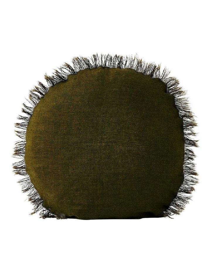 Vintage Linen Fringe 45cm Round Cushion - Khaki image 1