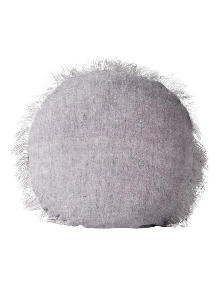 Vintage Linen Fringe Round Cushion - Iris image 1