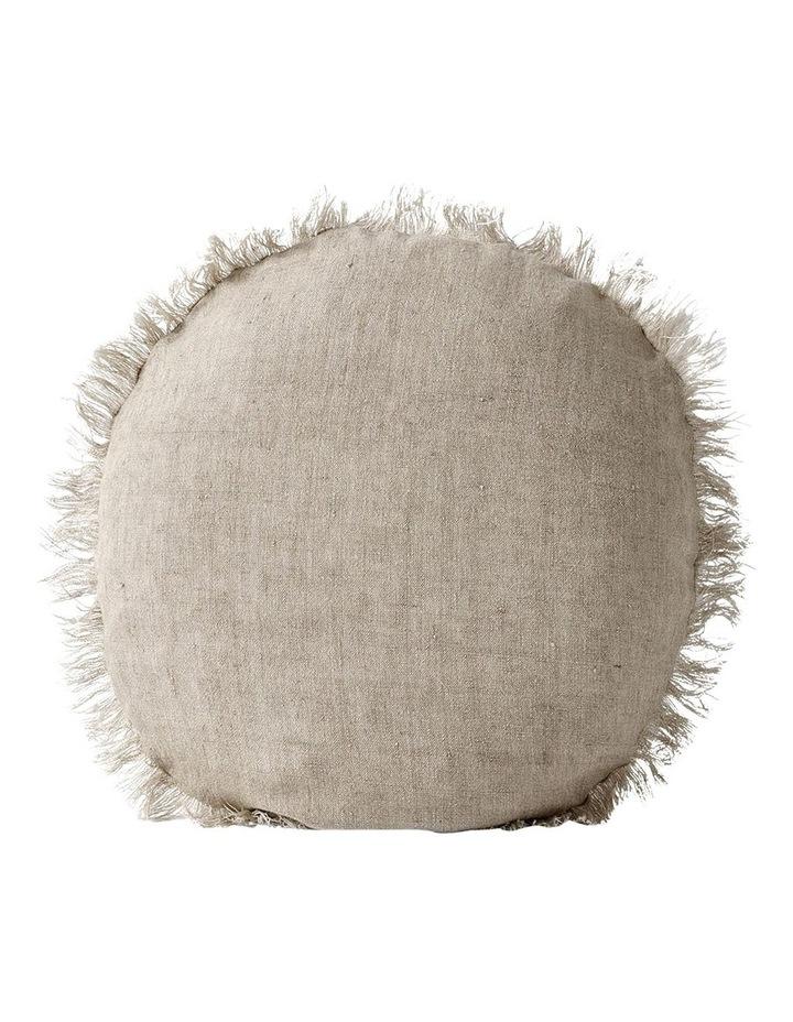 Vintage Linen Fringe 55cm Round Cushion In Natural image 1