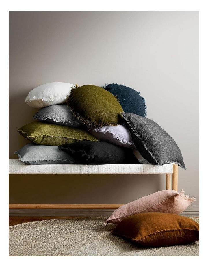 Vintage Linen Fringe 55cm Round Cushion In Natural image 2