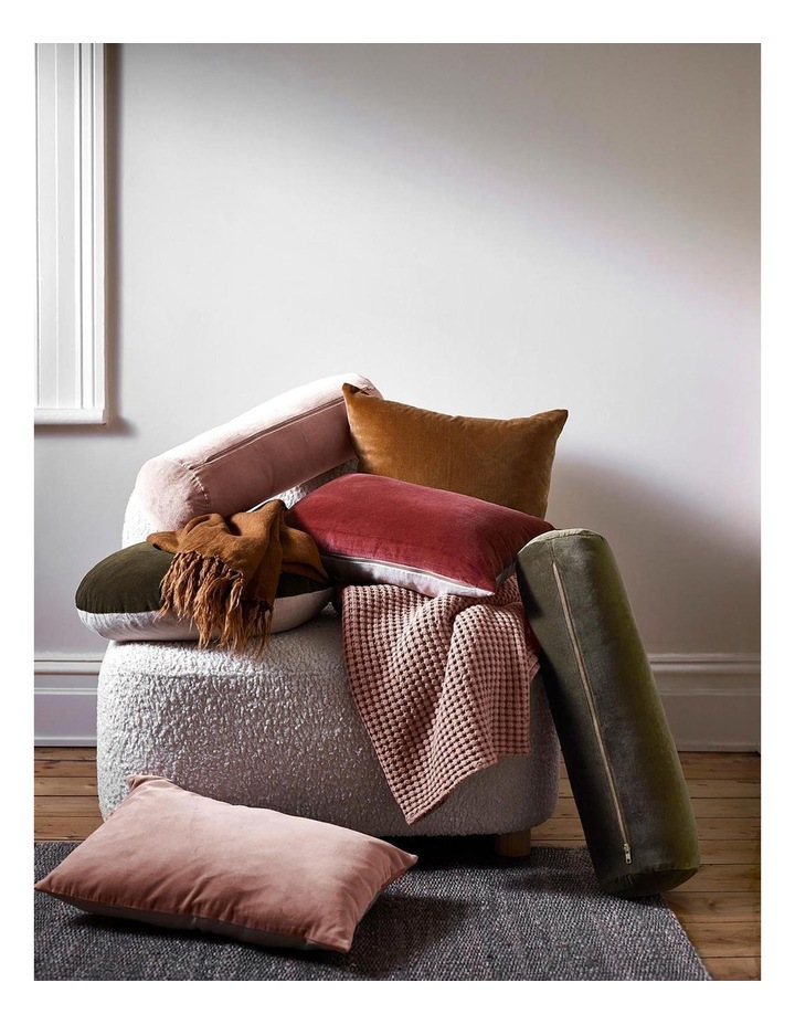 Luxury Velvet 55cm Round Cushion in Khaki image 3