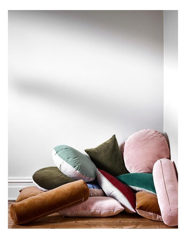 Luxury Velvet 55cm Round Cushion in Khaki image 4