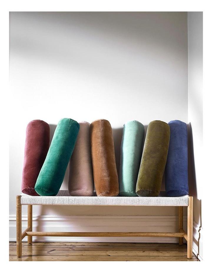 Luxury Velvet Bolster Cushion in Jade image 4