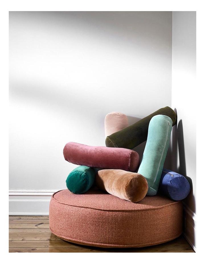 Luxury Velvet Bolster Cushion in Bijou Blue image 3