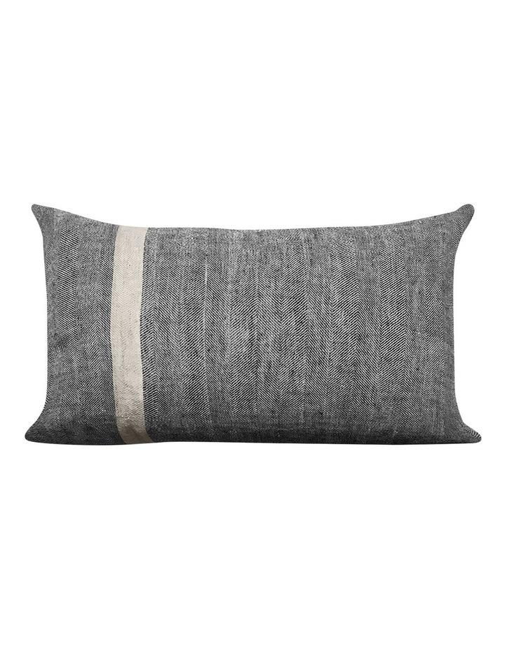 Herringbone Rectangle Cushion in Charcoal image 1