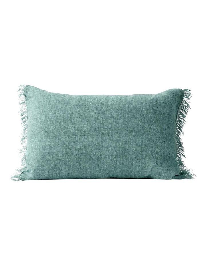 Vintage Linen Fringe Rectangle Cushion In Jade image 1