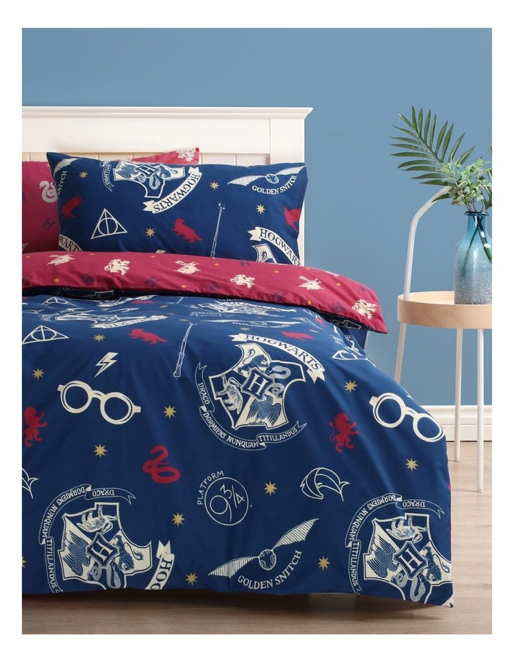 Harry Potter Hogwarts Quilt Cover Set in Navy image 1
