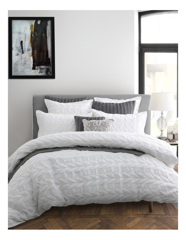 Upton Quilt Cover Set in White image 7