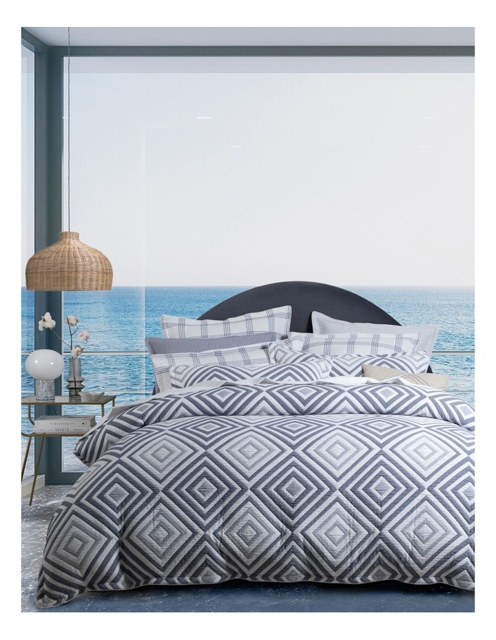 Lambert Quilt Cover Set in Blue/White image 1