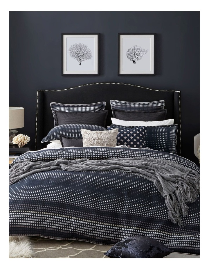 Laurence Quilt Cover Set in Navy image 1