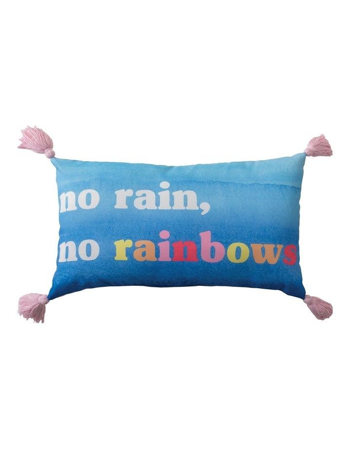No Rain No Rainbow Cushion in Blue image 1