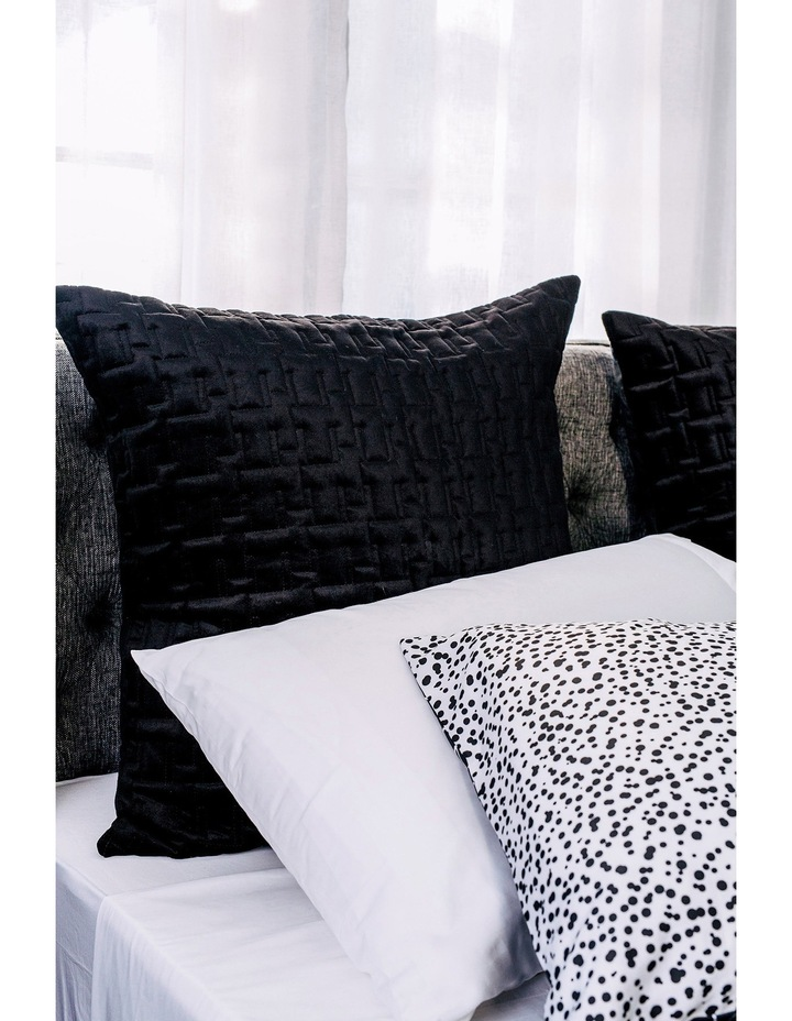 Quitled Velvet European Pillowcase in Black image 1