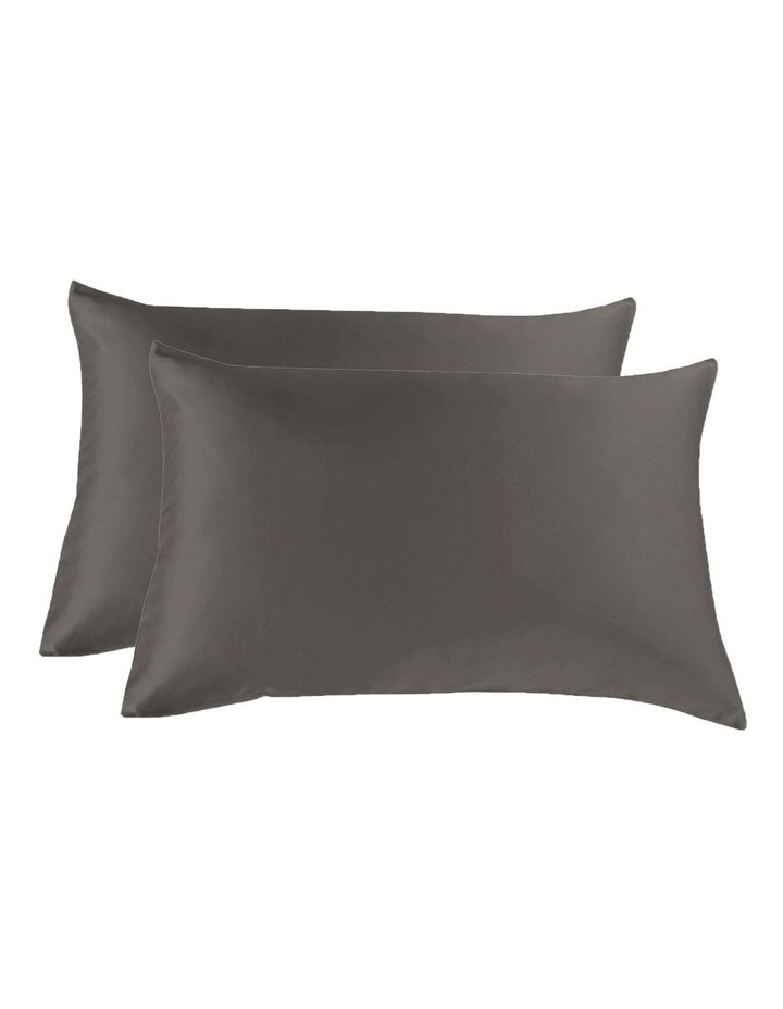Royal Comfort Mulberry Silk Pillowcase Twin Pack - Charcoal image 1