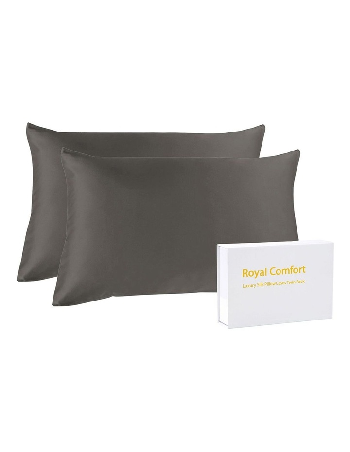 Royal Comfort Mulberry Silk Pillowcase Twin Pack - Charcoal image 3