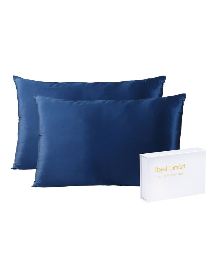 Royal Comfort Mulberry Silk Pillowcase Twin Pack - Navy image 2