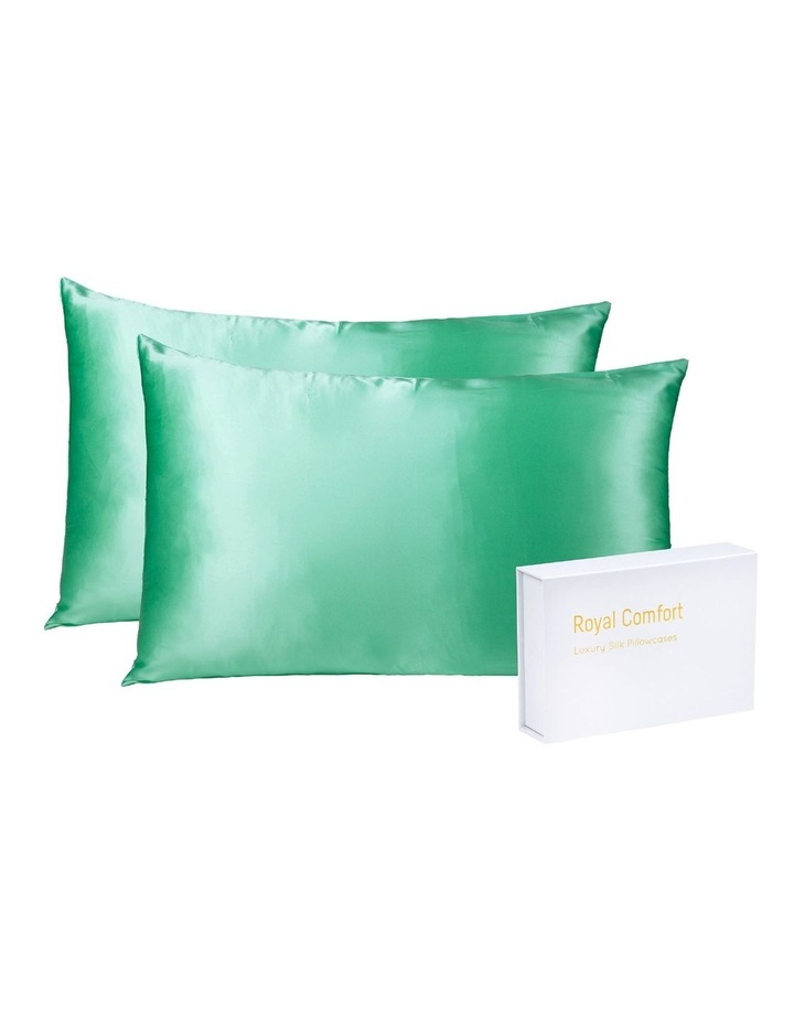 Royal Comfort Mulberry Silk Pillowcase Twin Pack - Mint image 2