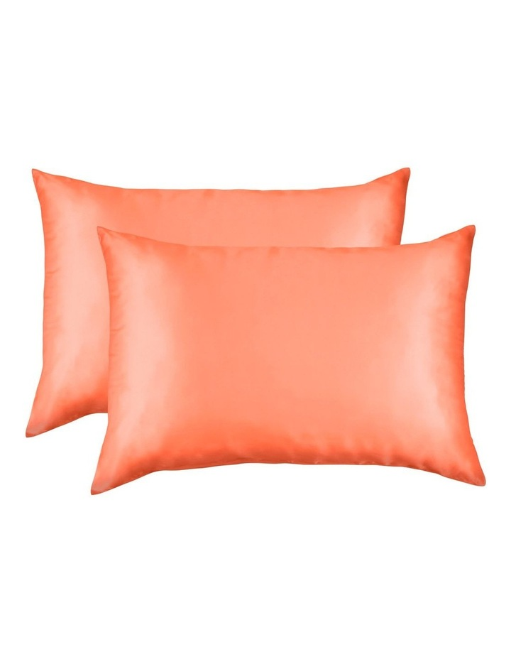 Royal Comfort Mulberry Silk Pillowcase Twin Pack - Living Coral image 1