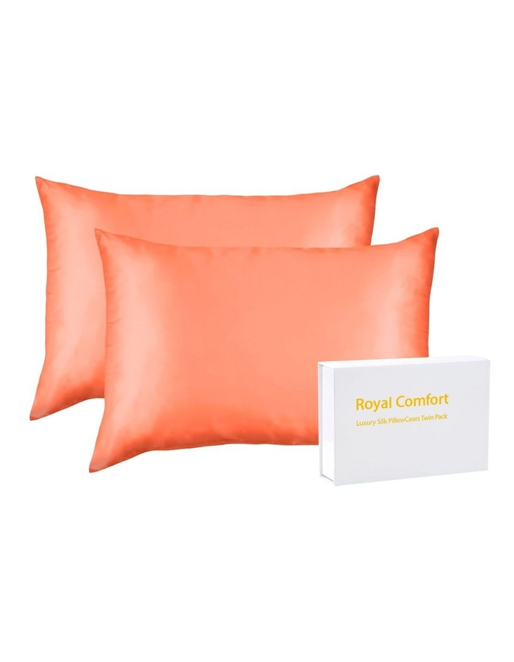 Royal Comfort Mulberry Silk Pillowcase Twin Pack - Living Coral image 2