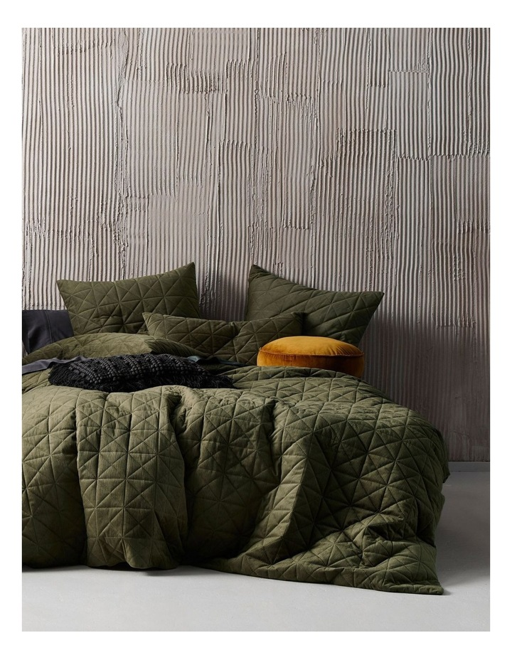 Heath Quilt Cover Set in Olive image 1