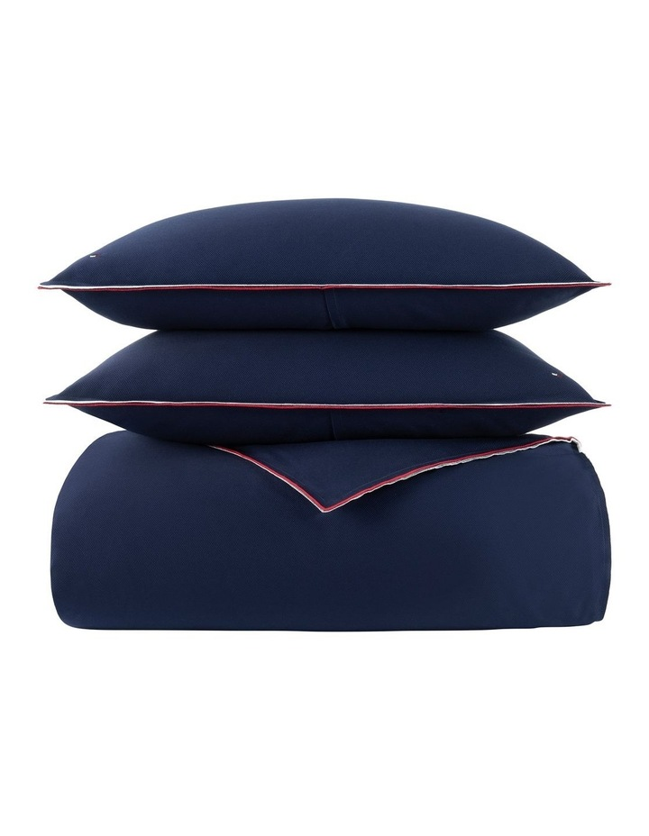 Classic Pique Quilt Cover Set in Navy image 1