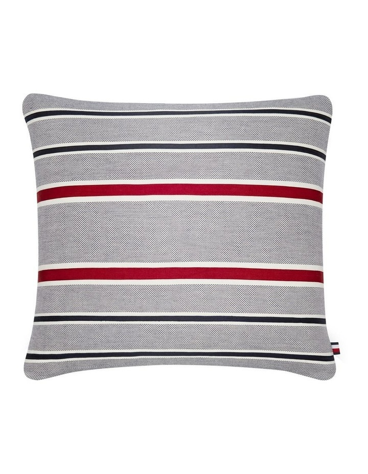 Appliqued Stripe Cushion in Red/White/Blue image 1