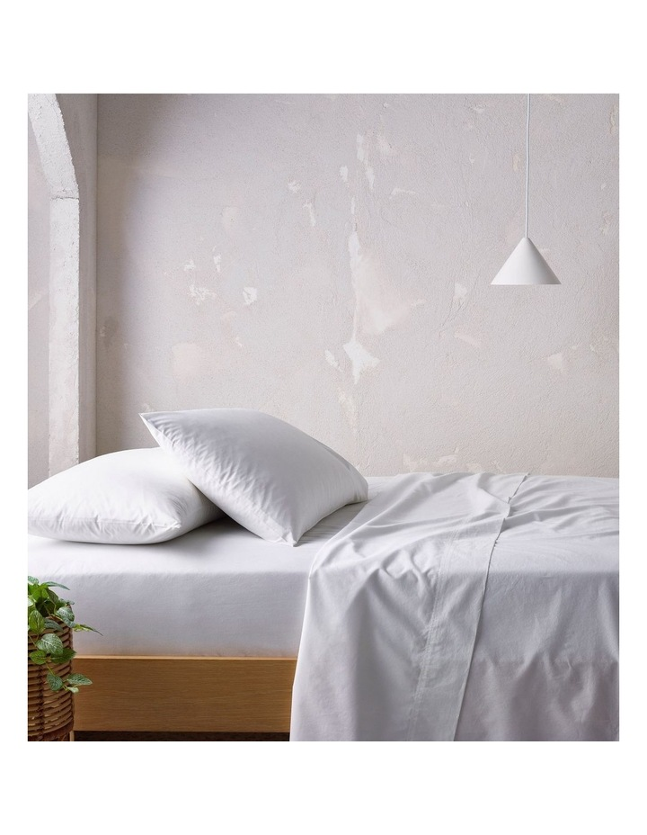 250TC Organic Stonewashed Cotton Sheets in White image 1