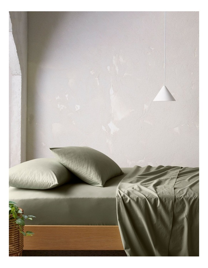 Organic Stonewashed Cotton Sheet Set in Olive image 1