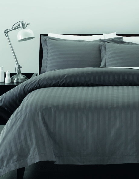 Serenity 500TC Sateen Stripe Range in Charcoal image 1