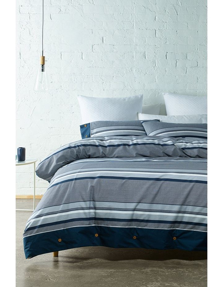 Grayson Cotton Sateen Quilt Cover Set in Navy image 1