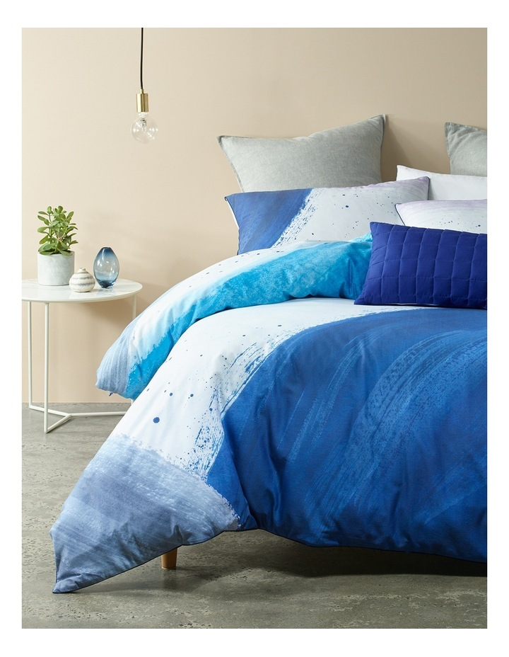 Brush Stroke Digital Print Cotton Quilt Cover Set in Blues image 1