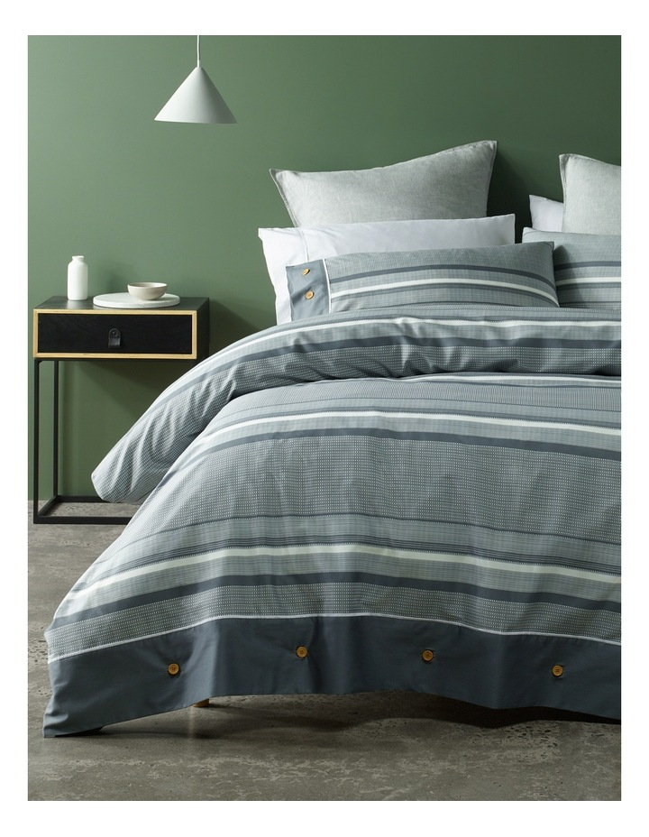 Grayson Cotton Sateen Quilt Cover Set in Charcoal image 1