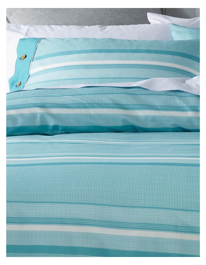 Grayson Cotton Sateen Quilt Cover Set in Aqua image 2