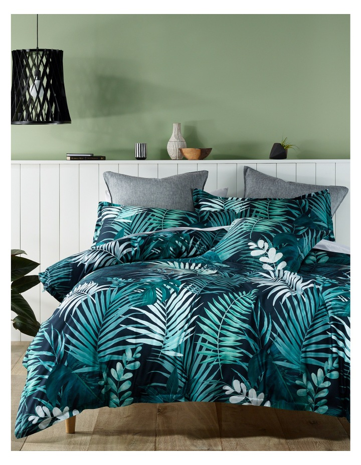 Maldives Cotton Sateen Quilt Cover Set in Dusty Green image 1