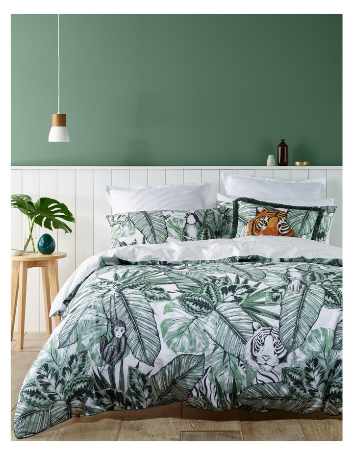 Tanzania Cotton Quilt Cover Set in Greens image 1