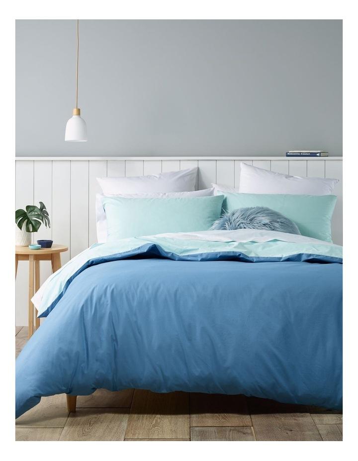 Oakland 300TC Cotton Percale Quilt Cover Set in Denim/Aqua image 1