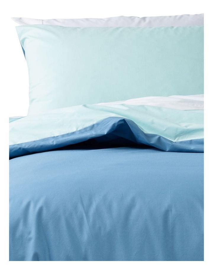 Oakland 300TC Cotton Percale Quilt Cover Set in Denim/Aqua image 2
