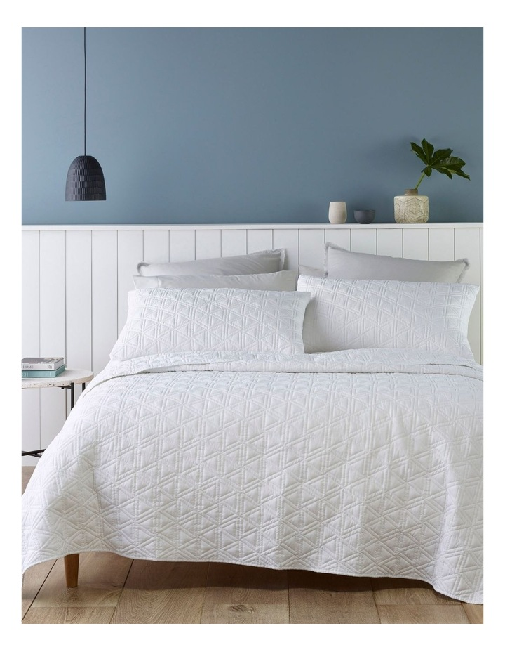 Mauritius Quilted Coverlet Set in White image 1