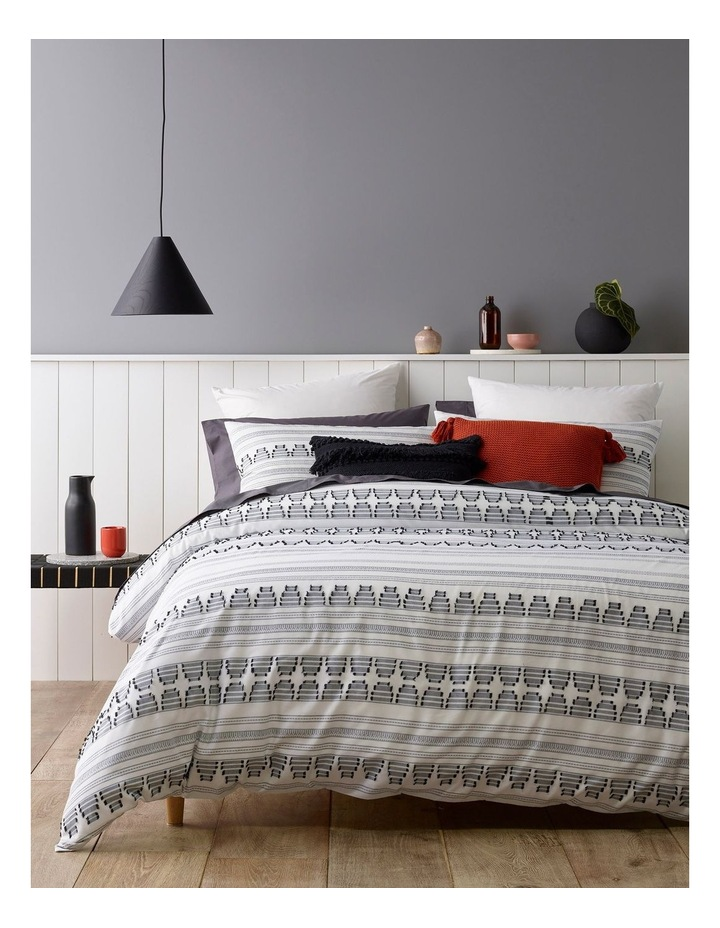 Tao Cotton Jacquard Quilt Cover Set in White/Black image 1