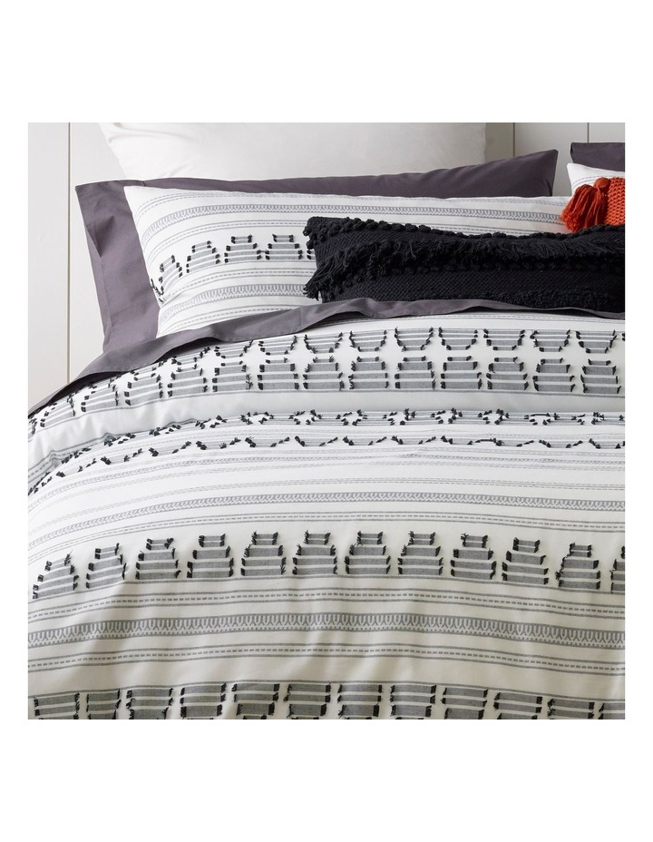 Tao Cotton Jacquard Quilt Cover Set in White/Black image 2
