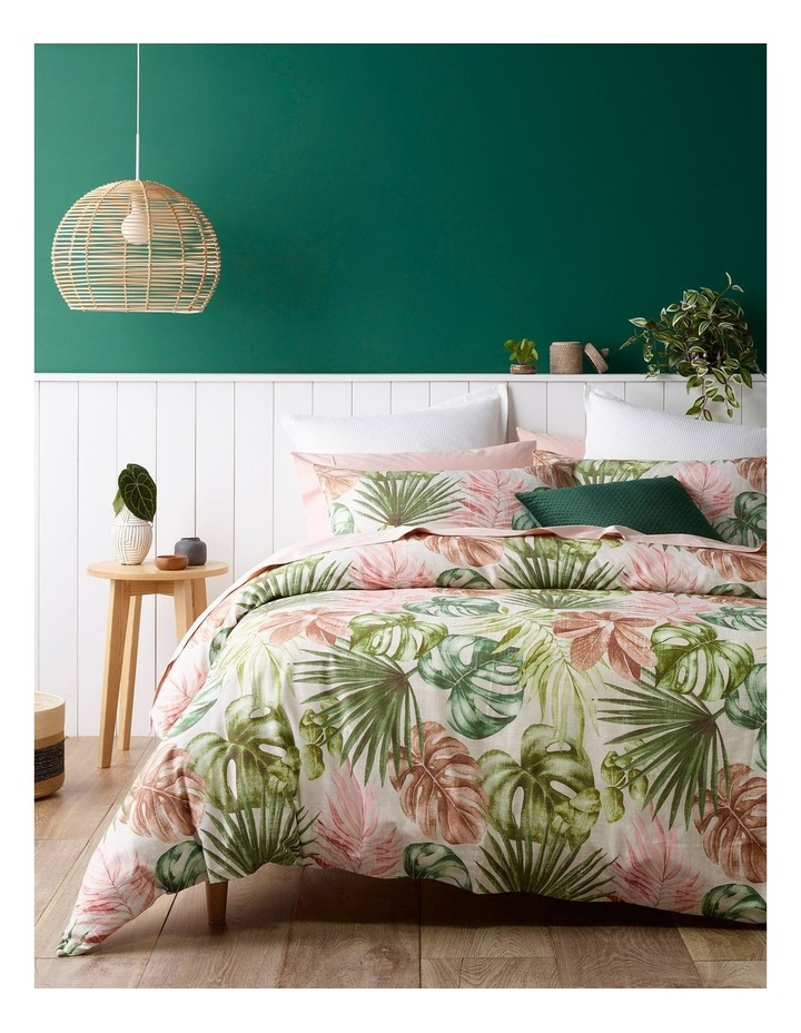 Mahale Leaf Print Quilt Cover Set in Pink and Green image 1
