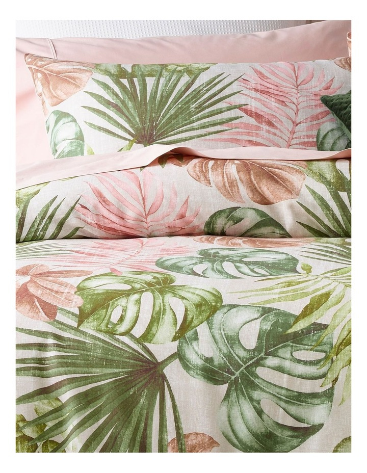 Mahale Leaf Print Quilt Cover Set in Pink and Green image 2