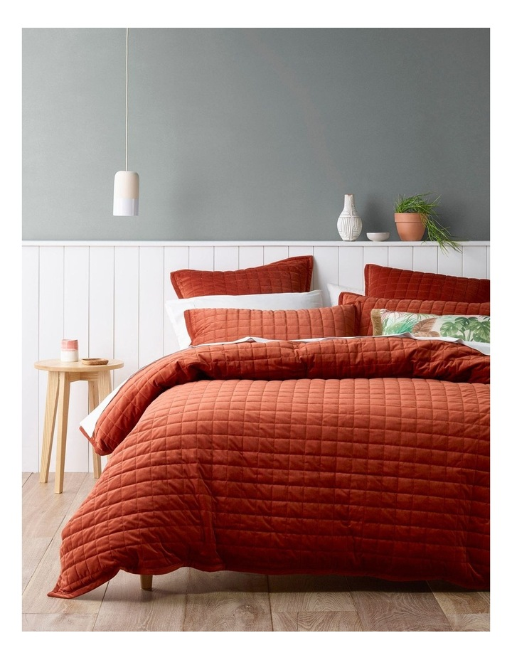 Tanami Quilted Quilt Cover Set in Burnt Brick image 1