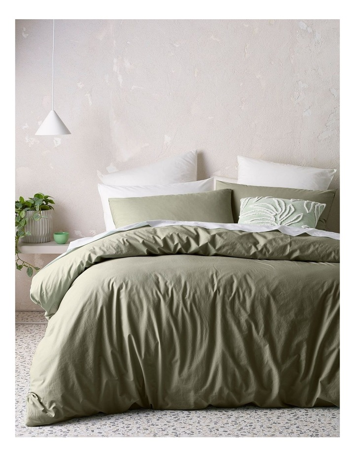 Organic Stonewashed Cotton Quilt Cover Set in Olive image 1