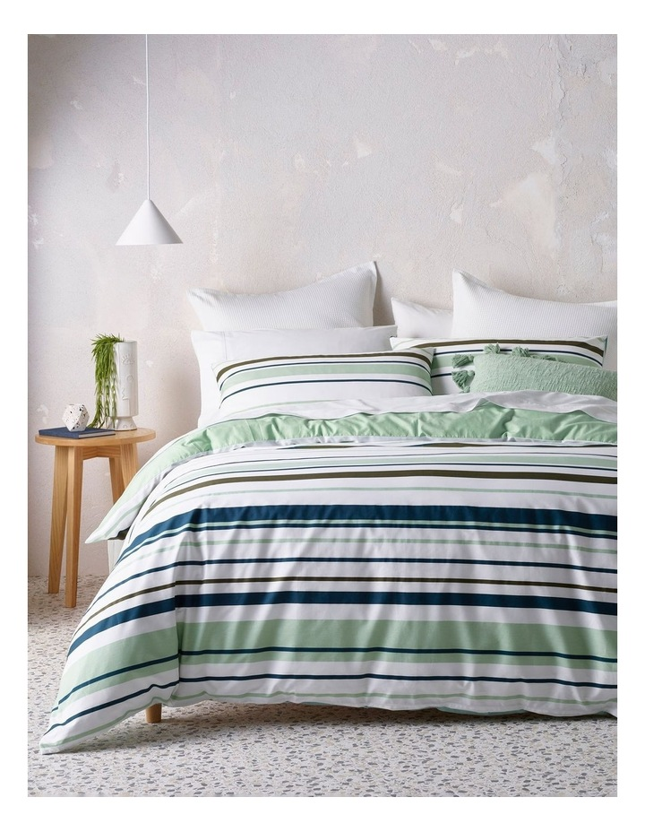 Jordan Cotton Percale Quilt Cover Set in Blue/Green image 1