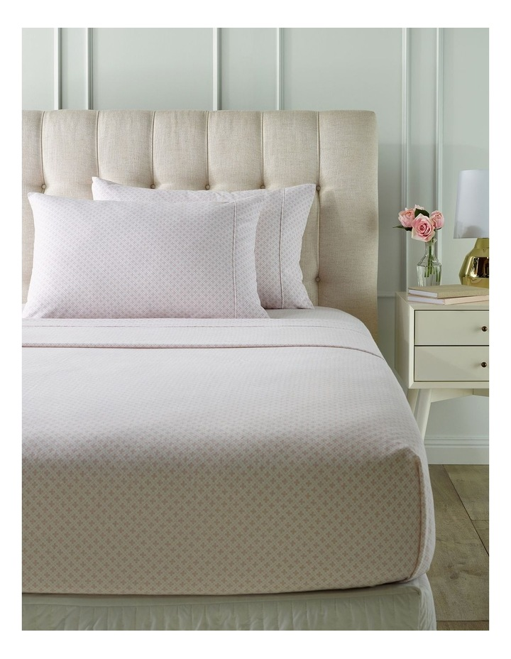 Olivia Flannelette Turkish Cotton Sheet Set in White/Pink image 1
