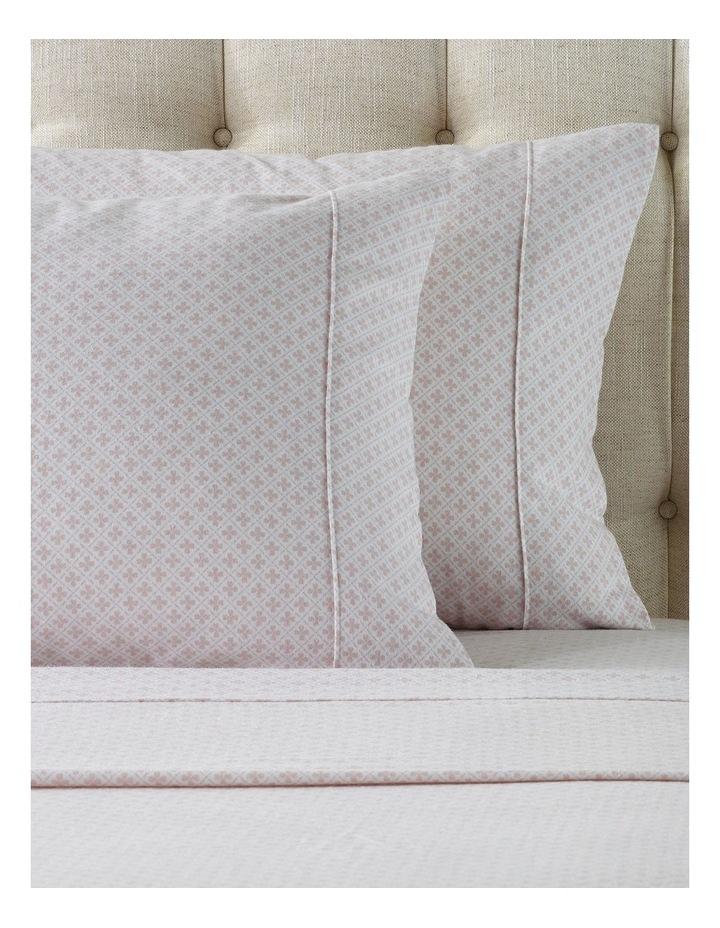 Olivia Flannelette Turkish Cotton Sheet Set in White/Pink image 2