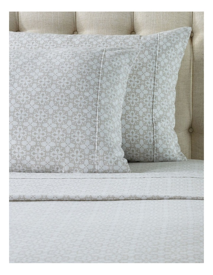 Louise Flannelette Turkish Cotton Sheet Set in White/Natural image 2