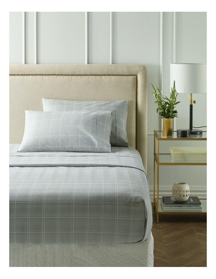 Sophie Flannelette Turkish Cotton Sheet Set in White/Grey image 1